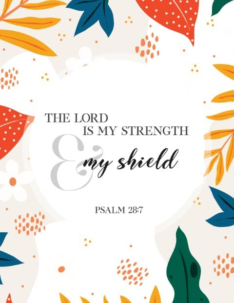 The Lord is my strength and shield Free Printable Christian Wall Art