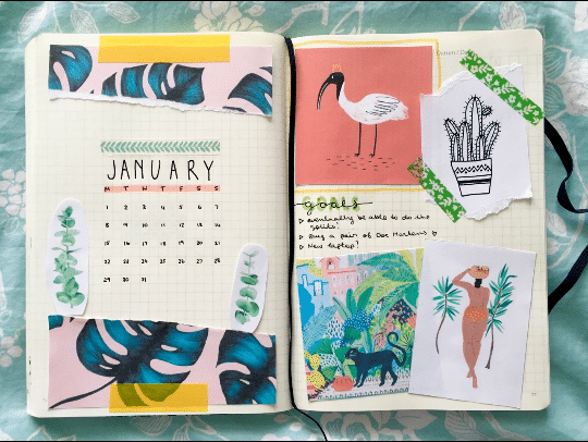 Tropical Scrapbook January Bullet Journal Ideas
