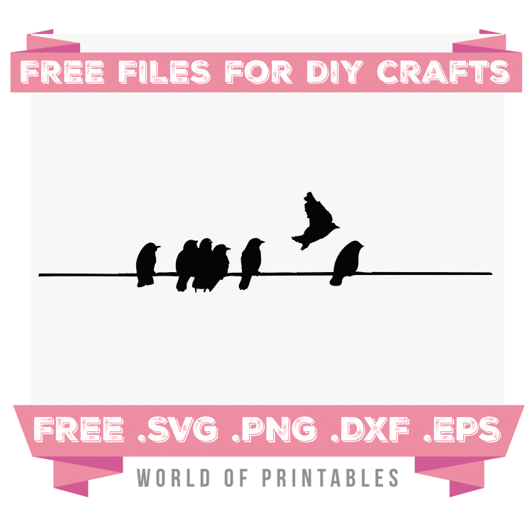 birds on a wire Free SVG Files PNG DXF EPS
