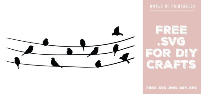 birds on wire - Free SVG file for DIY crafts and Cricut