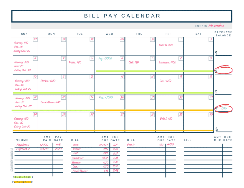 budgeting and bill pay calendar