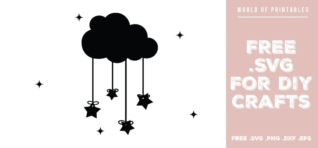 hanging cloud and stars - Free SVG file for DIY crafts and Cricut