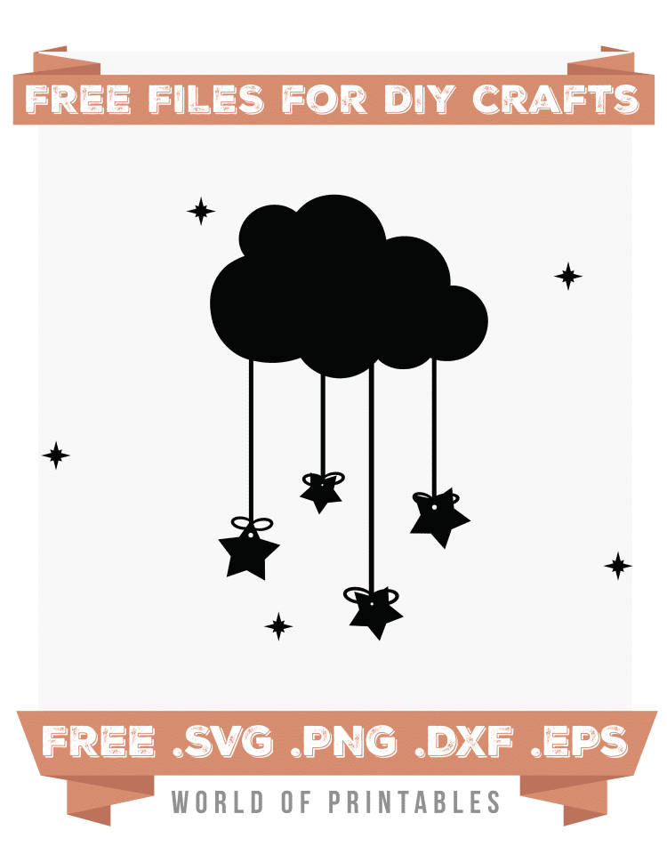 hanging stars from cloudss Free SVG Files PNG DXF EPS