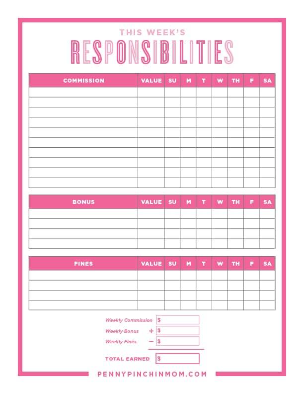 free printable kids chore chart template