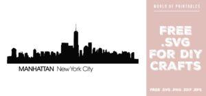 manhattan new york city skyline - Free SVG file for DIY crafts and Cricut