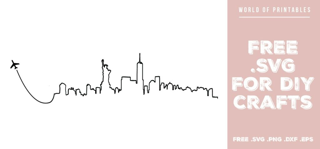 new york skyline fly away - Free SVG file for DIY crafts and Cricut