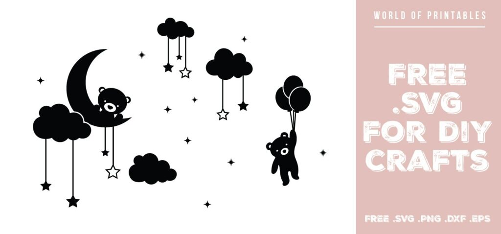 teddy bear in stars and clouds - Free SVG file for DIY crafts and Cricut