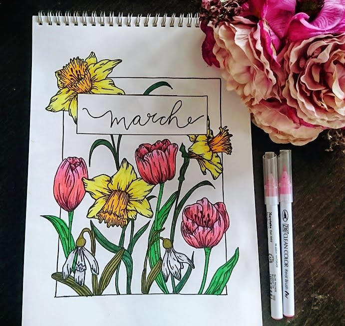 Spring Flower Bullet Journal March Cover Page
