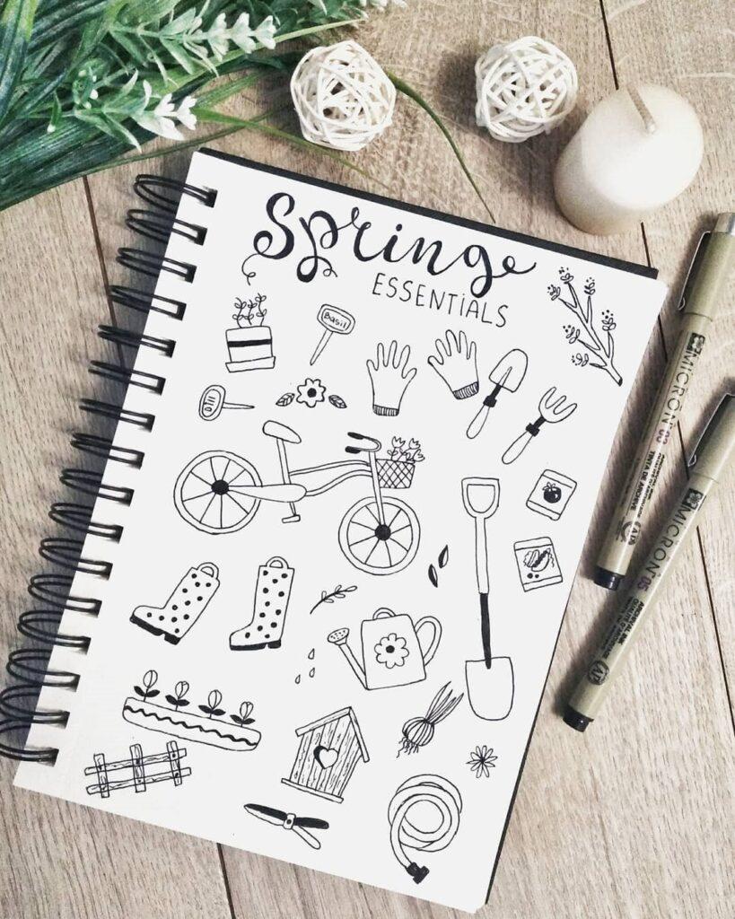 Spring Essentials Bullet Journal Doodles