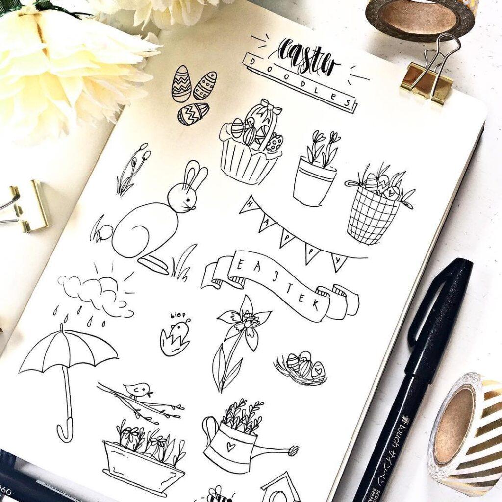 Bullet Journal Easter Doodles