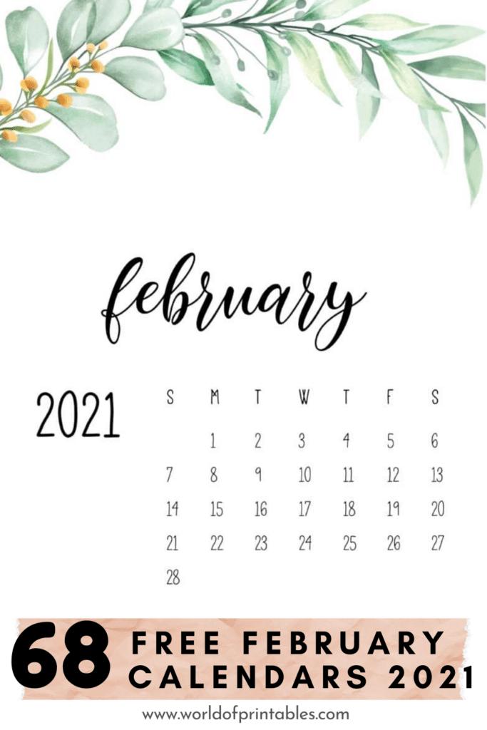 68 Free February Calendars 2021 - World of Printables
