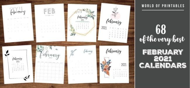 68 of the very best february 2021 calendar printables