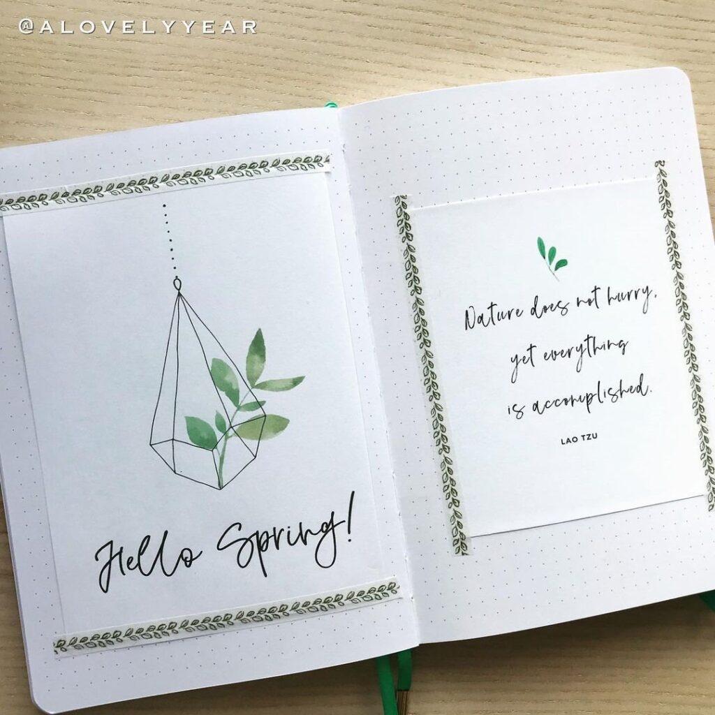 Minimalist Spring Bullet Journal Spread Idea