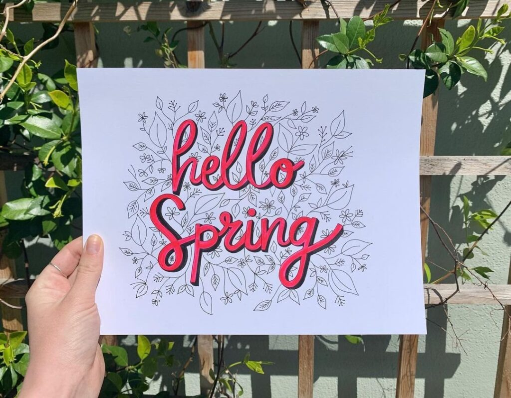 Spring Lettering For Bullet Journal