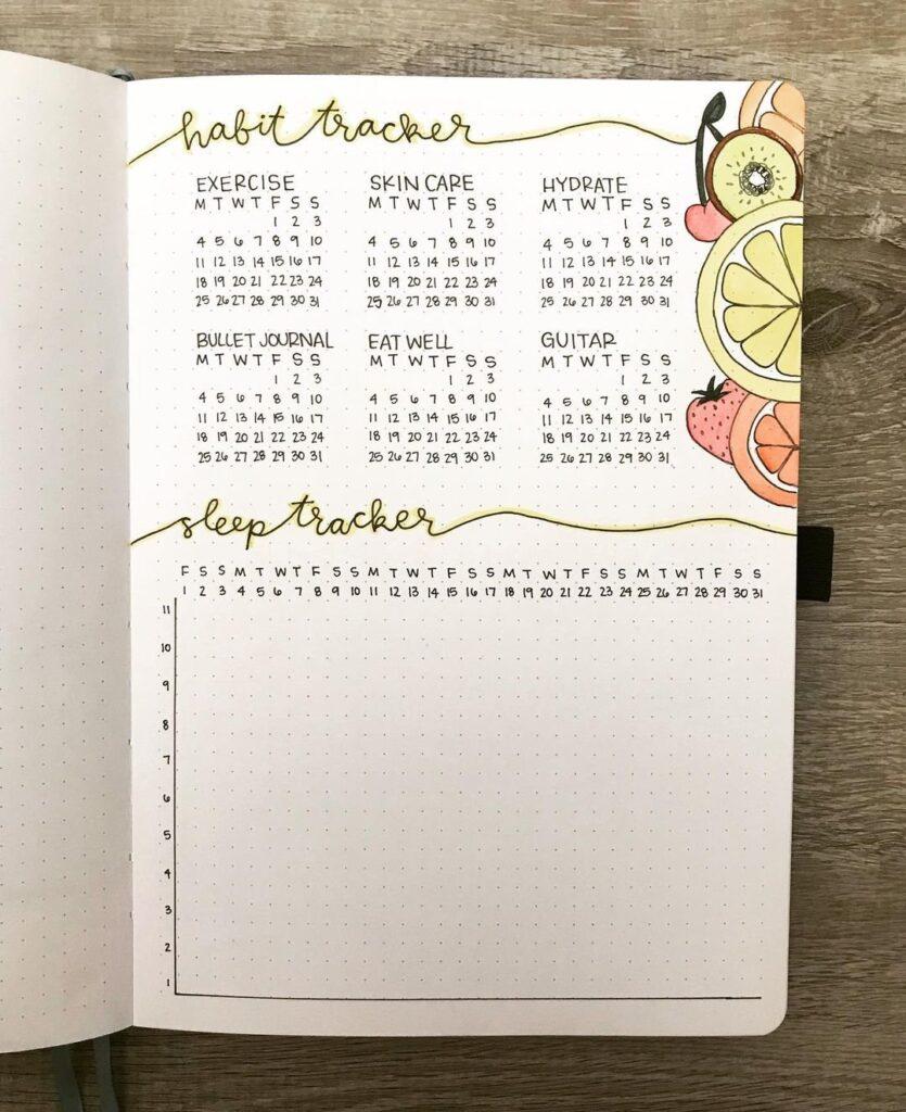 Fruit Bullet Journal Habit Tracker