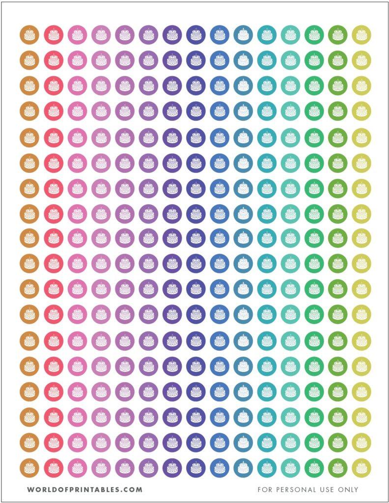 Birthday Cake Printable Planner Stickers