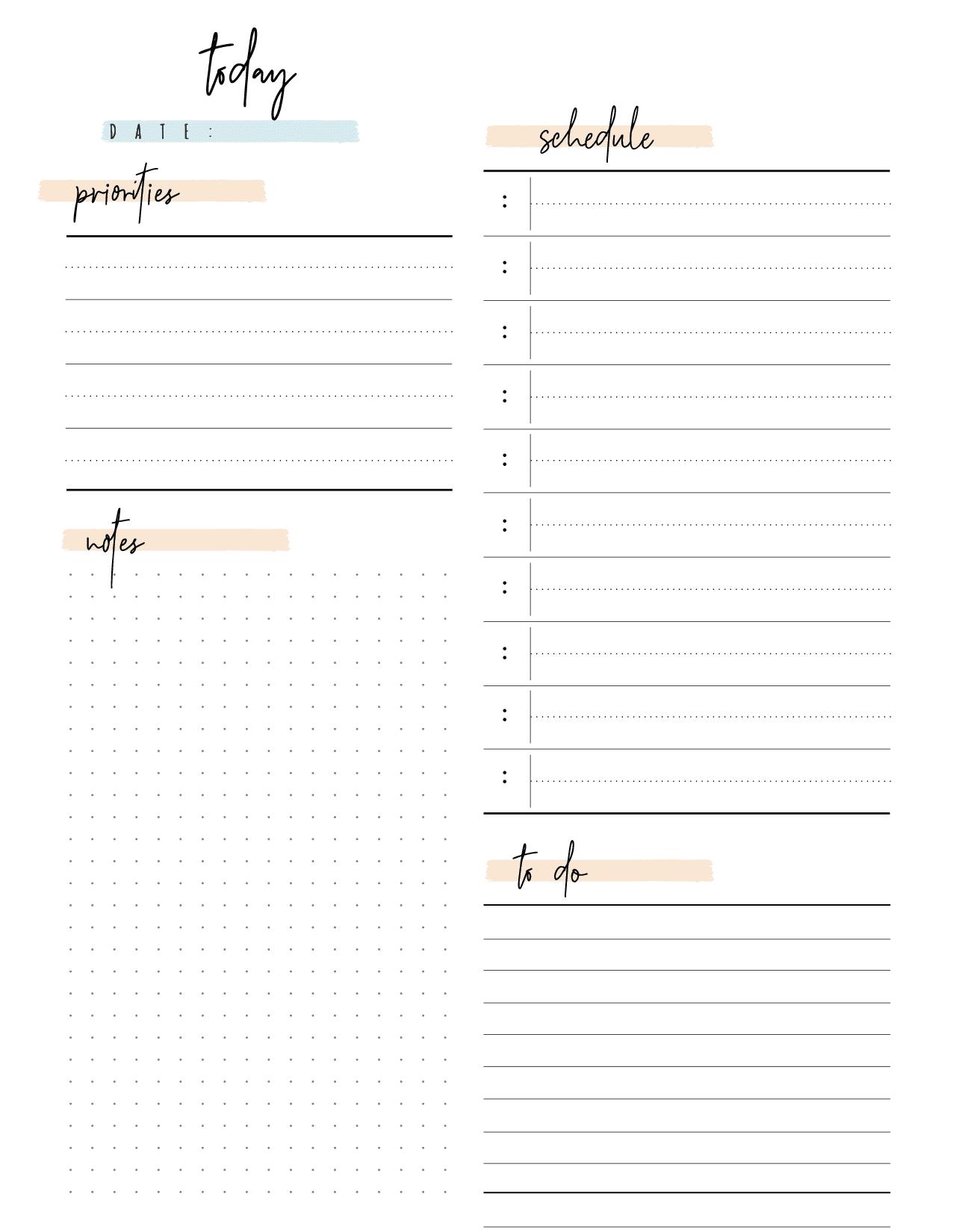 Bullet Journal Day Planner Insert