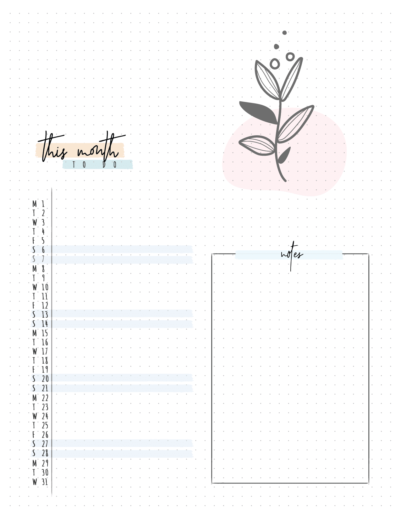 Bullet Journal Monthly Planner Pages-02