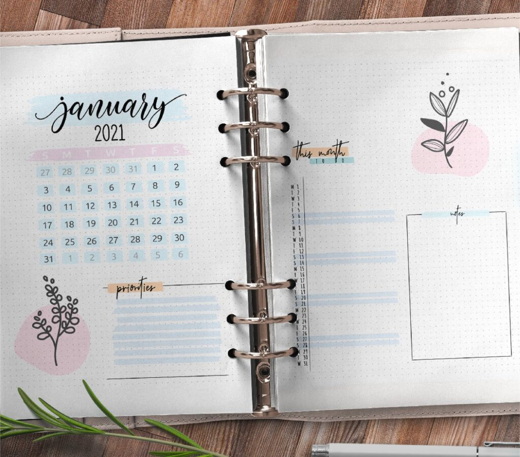 Bullet Journal Monthly Planner Pages Free Printable 3