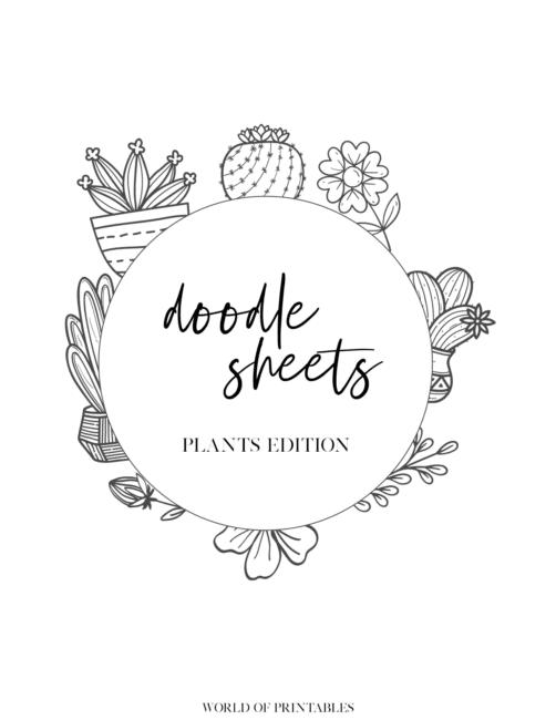 Printable Plant Theme Bullet Journal doodles