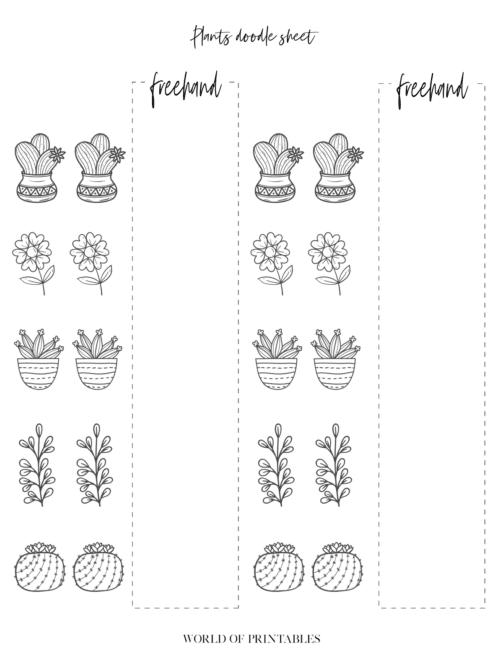Bullet Journal doodles Plant style practice sheets