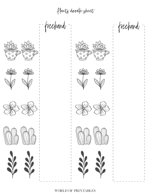 Bullet Journal doodle sheets plant style - page 2