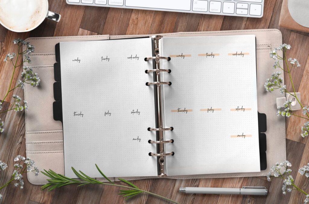 Bullet Journal Week Pages Free Printable