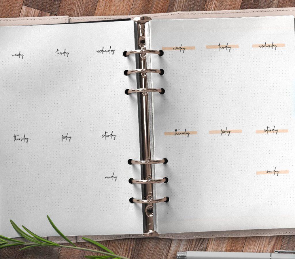 Bullet Journal Week Pages Free Printable 2
