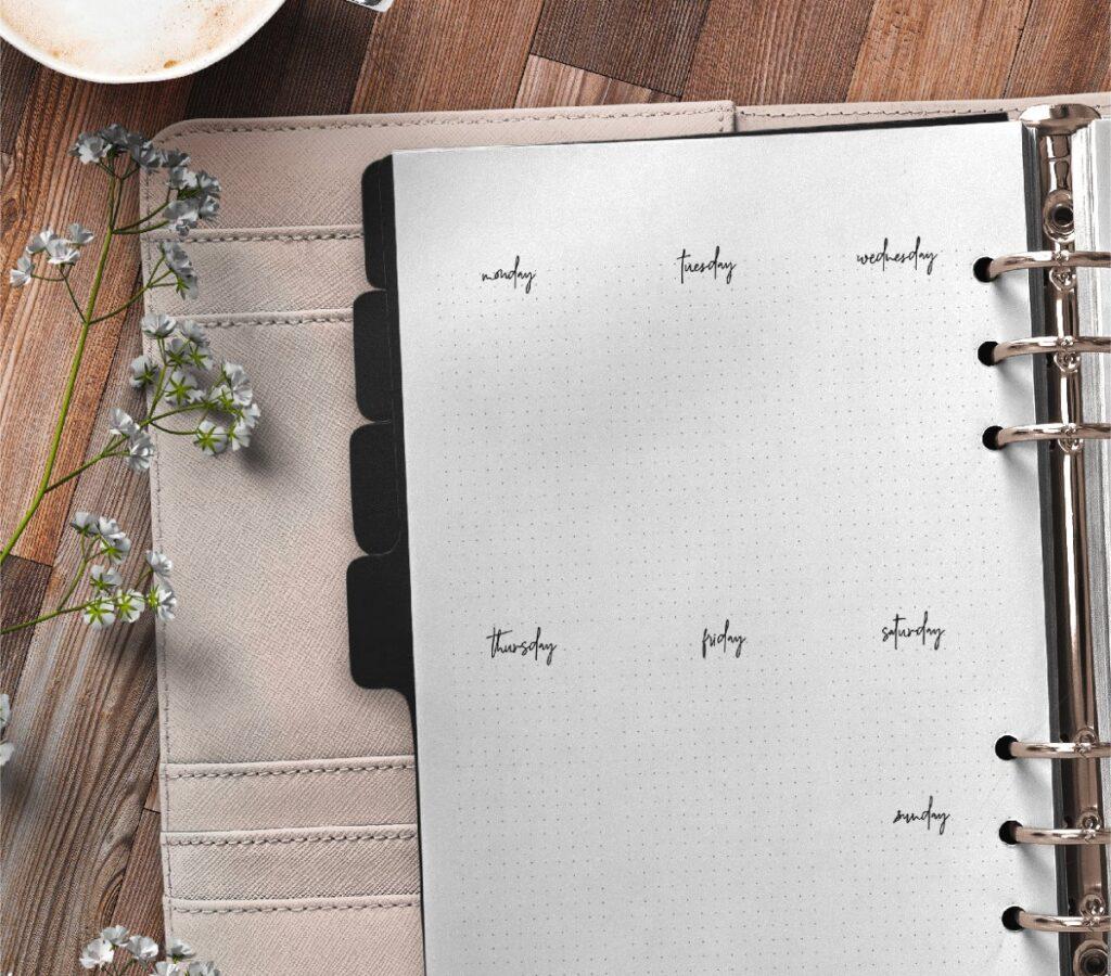 Bullet Journal Week Pages Free Printable 3