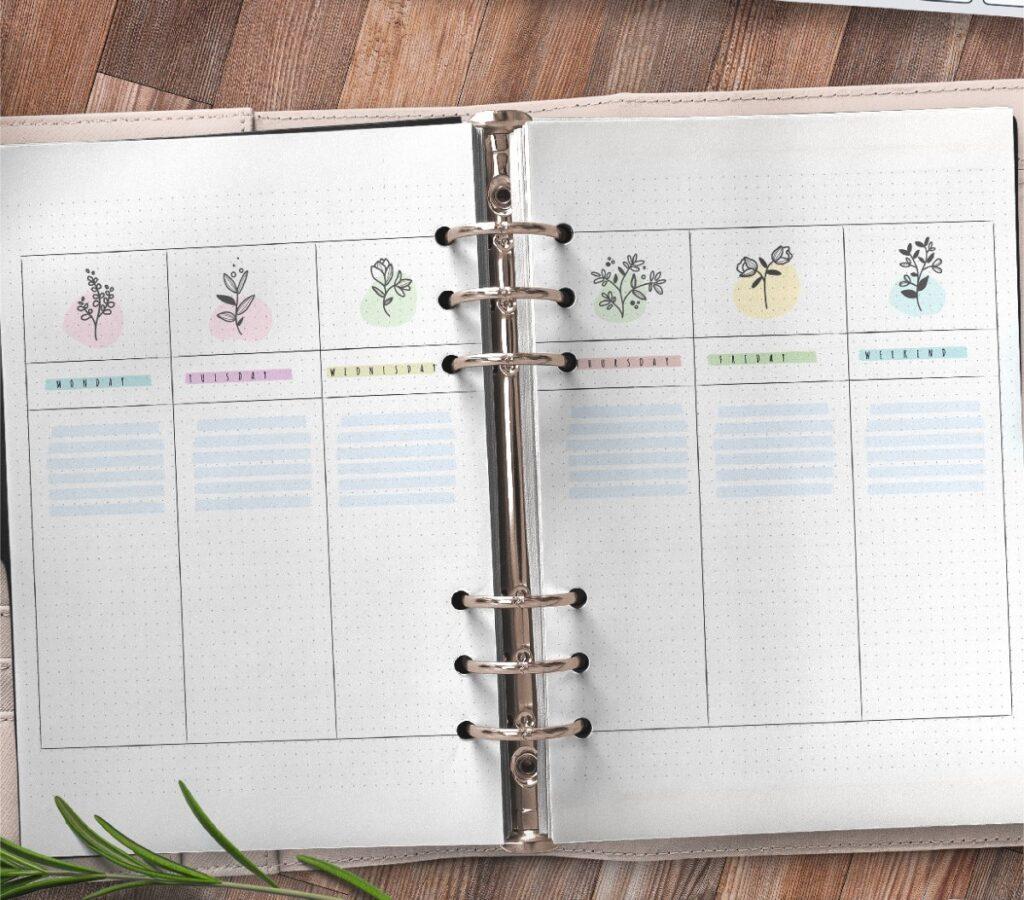 Floral Bullet Journal Weekly Planner Free Printable 2