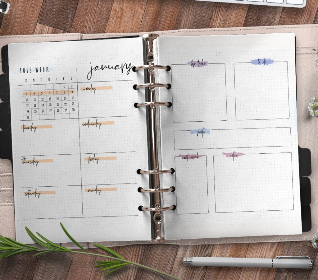 Bullet Journal Weekly Planner Insert On Two Pages Free Printable 3