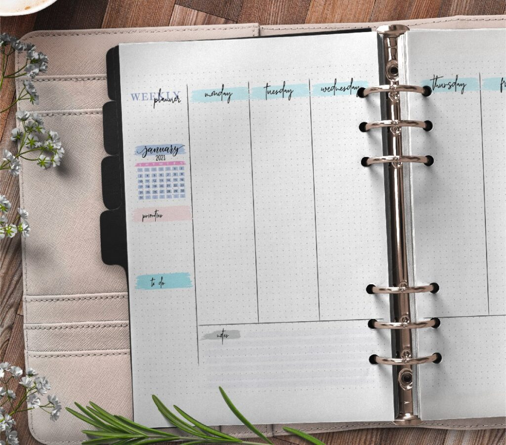 Bullet Journal Weekly Planner On Two Pages Free Printable 1