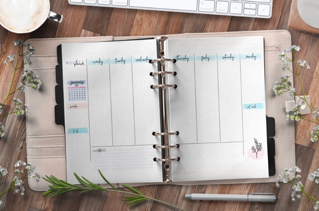 Bullet Journal Weekly Planner On Two Pages Free Printable