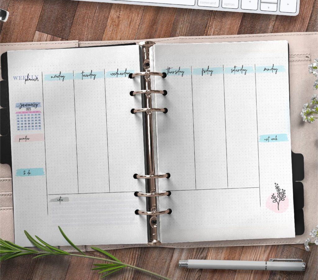 Bullet Journal Weekly Planner On Two Pages Free Printable 3