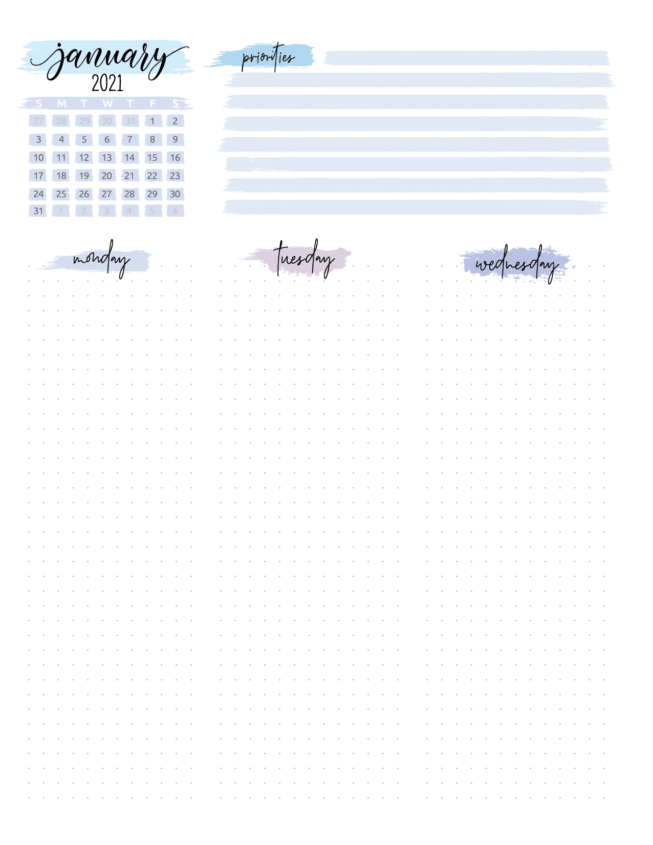 Bullet Journal Weekly Planner Page Spread-01