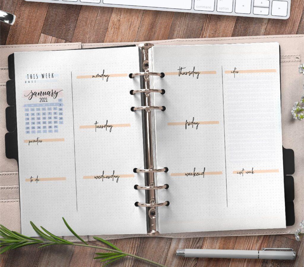 Bullet Journal Weekly Planner Template Free Printable 3