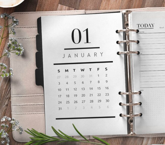 Calendar Planner Page Insert Style 1 Free Printable 1
