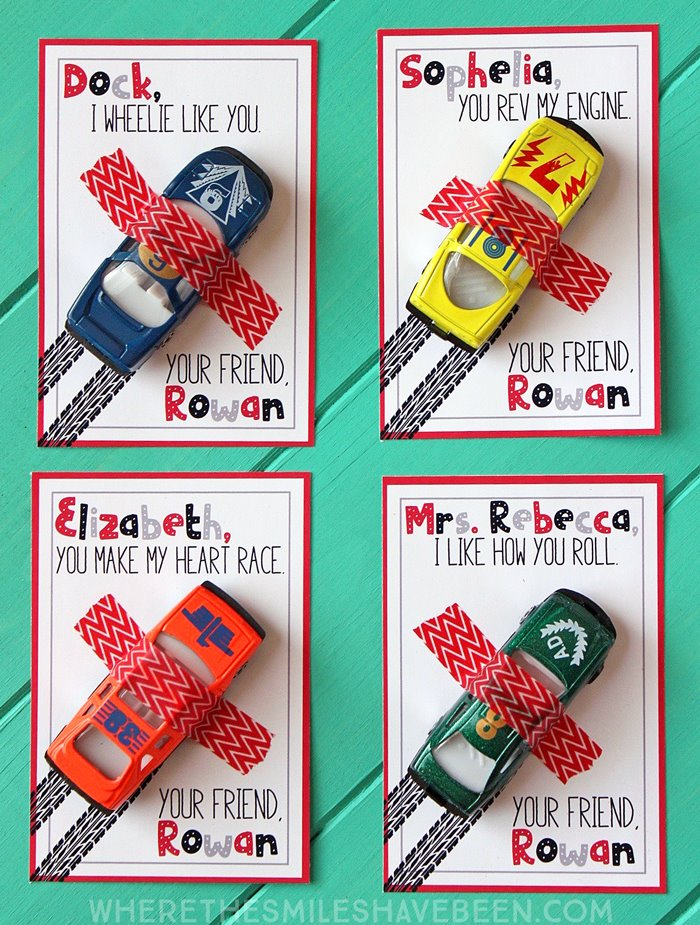 Race Car Valentine's Day Cards Printable