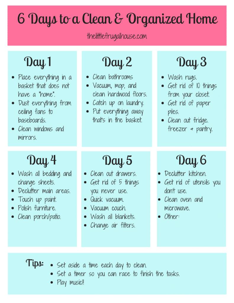 Clean Home Schedule template