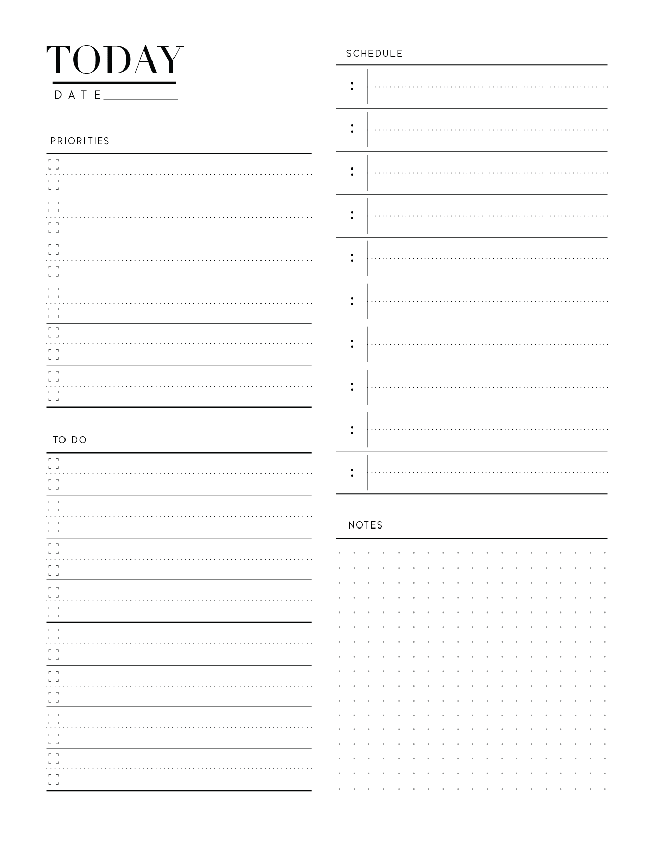 Day Planner Page In Two Styles-01