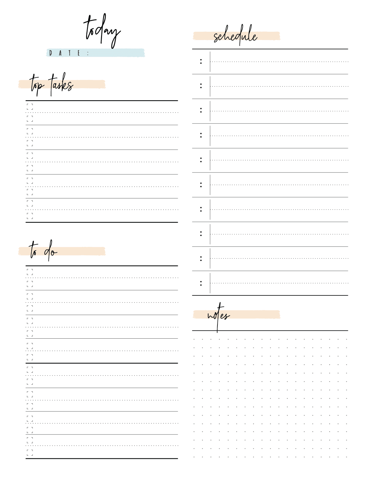 Day Planner Page In Two Styles-02