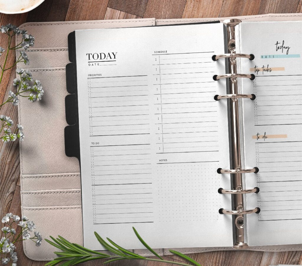 Day Planner Page In Two Styles Free Printable 1-01