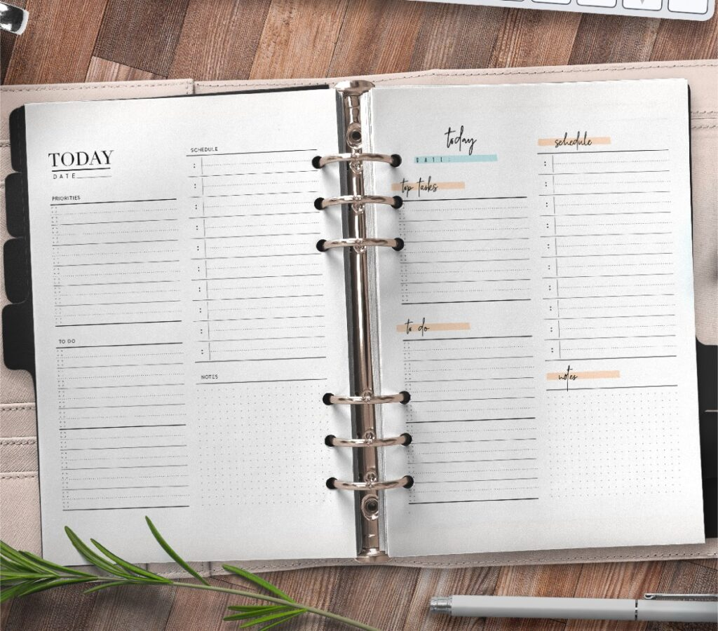 Day Planner Page In Two Styles Free Printable 3