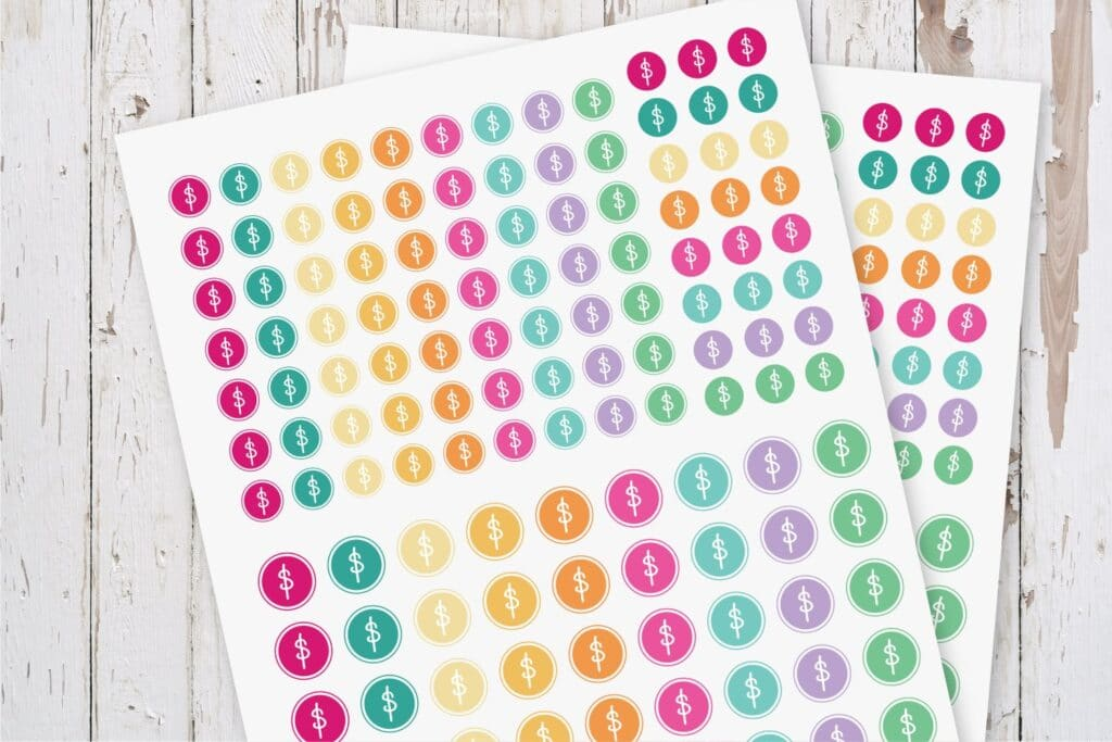 Dollar Sign Bill Pay Planner Stickers