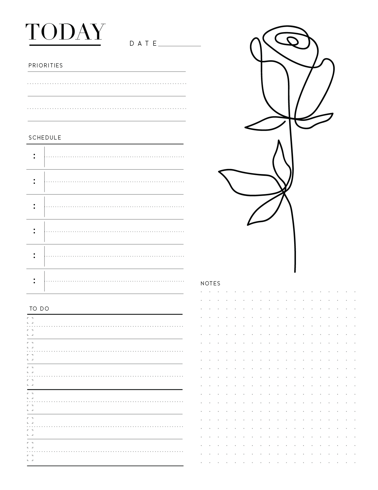 Elegant Day Planner Insert On One Page In Two Styles-01
