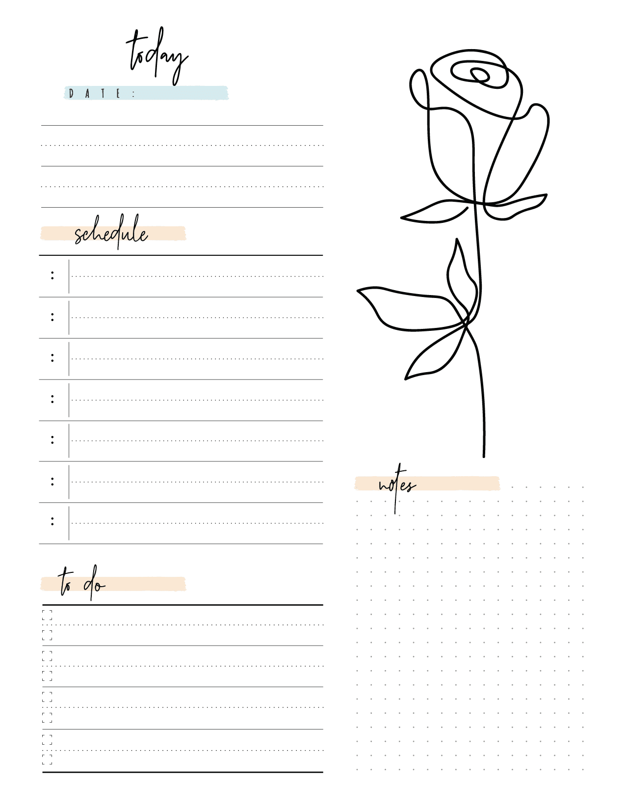 Elegant Day Planner Insert On One Page In Two Styles-02