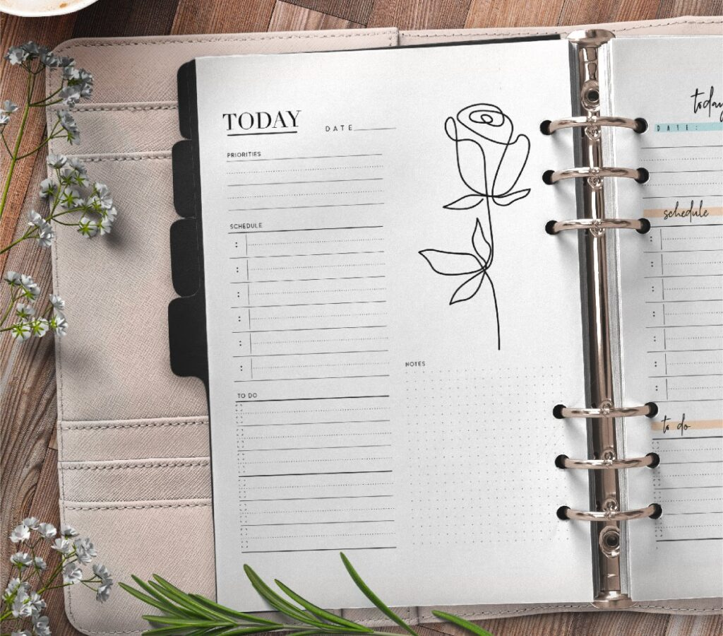 Elegant Day Planner Insert On One Page In Two Styles Free Printable 1