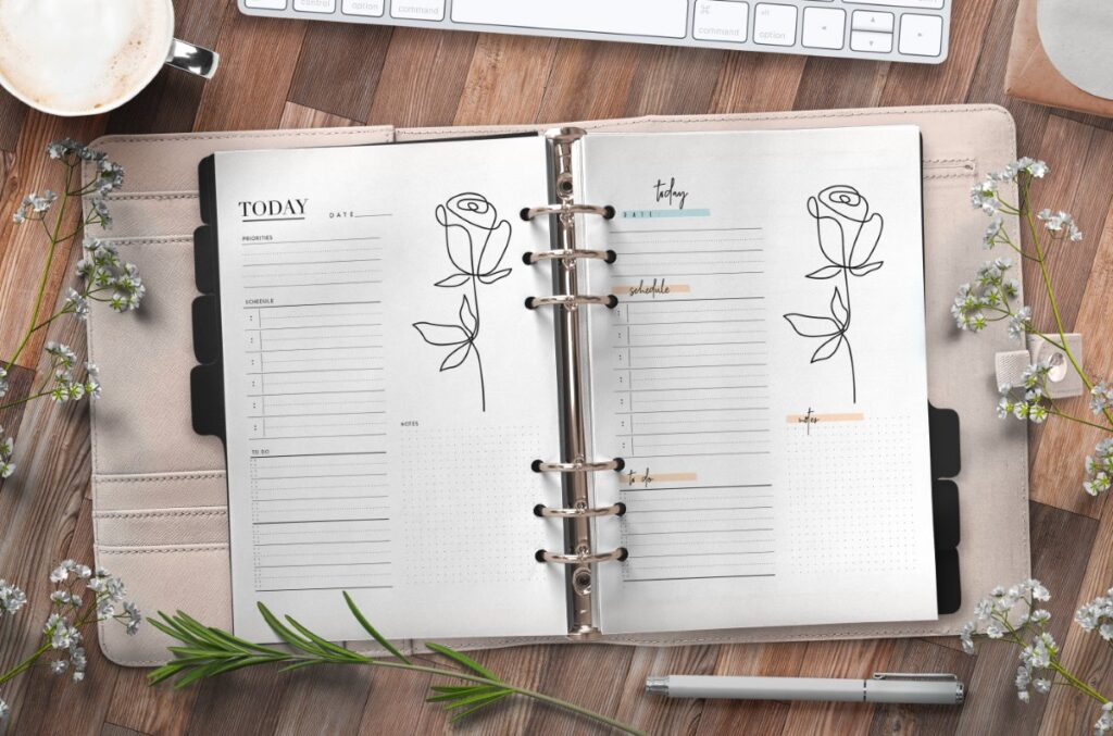 Elegant Day Planner Insert On One Page In Two Styles Free Printable