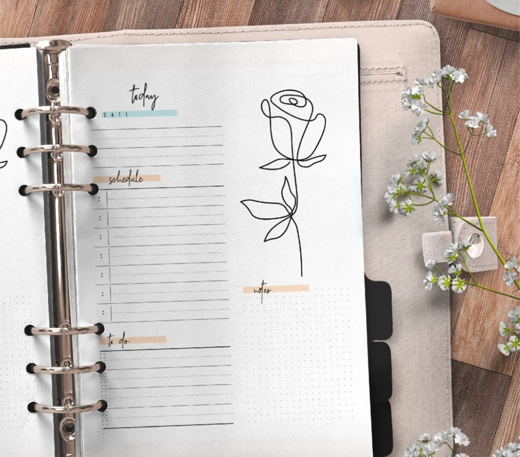Elegant Day Planner Insert On One Page In Two Styles Free Printable 2