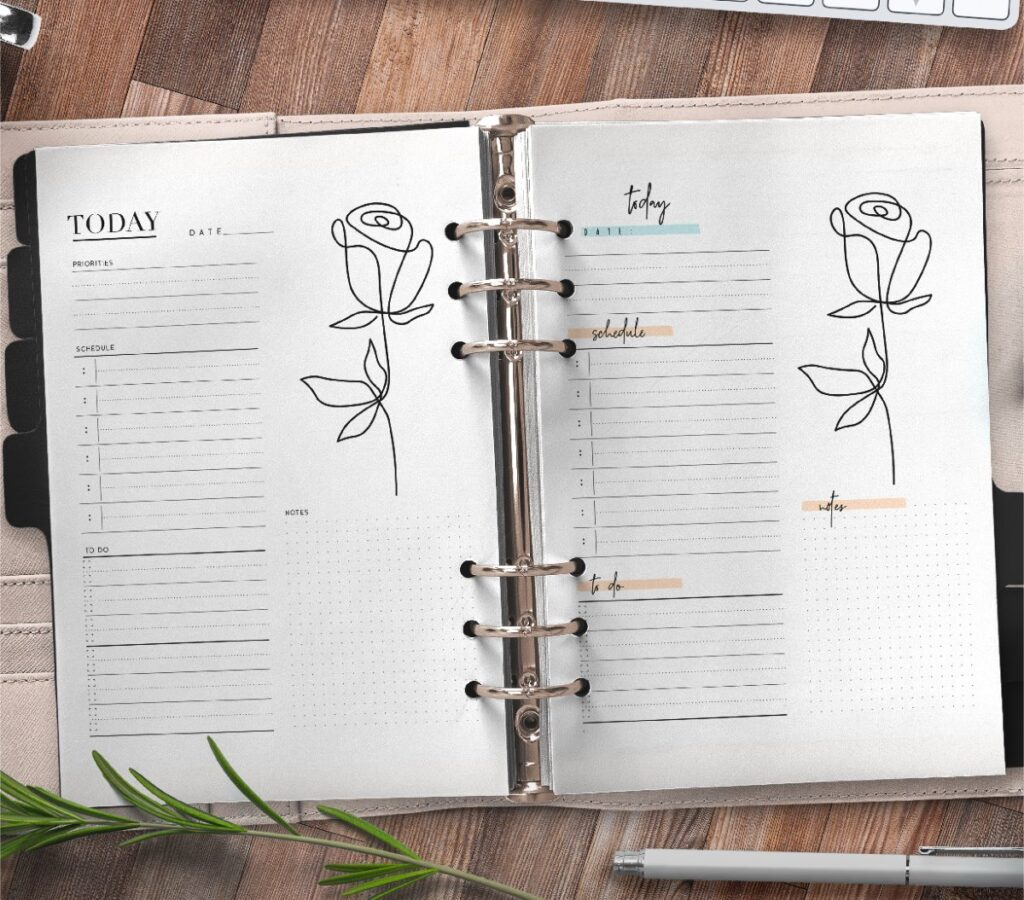 Elegant Day Planner Insert On One Page In Two Styles Free Printable 3